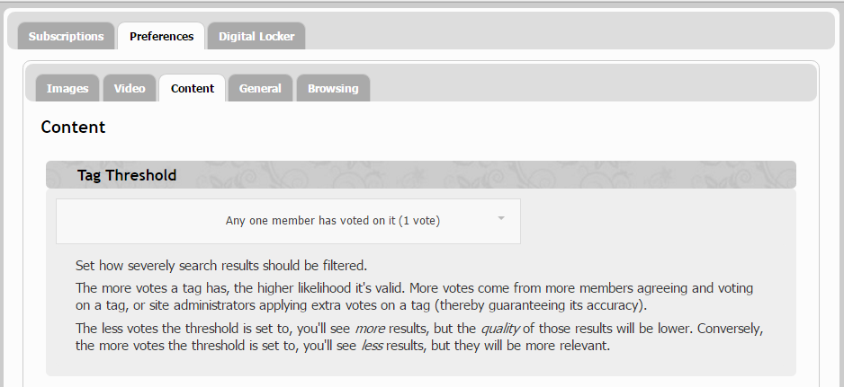 ABOVE: Customers can adjust their own tag threshold for search results.